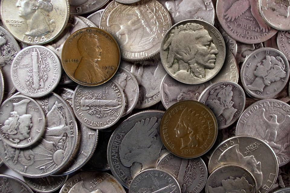 A Variety of Circulated U.S. Coins.