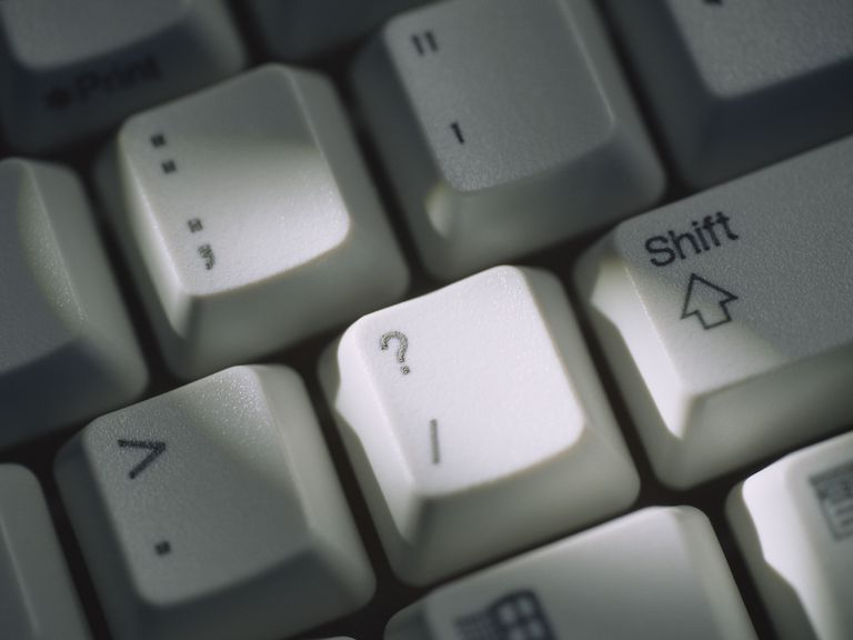 Punctuation keys on a keyboard