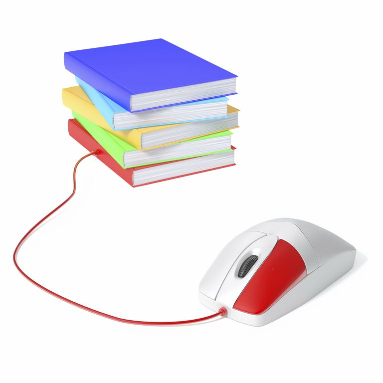 Books and computer mouse