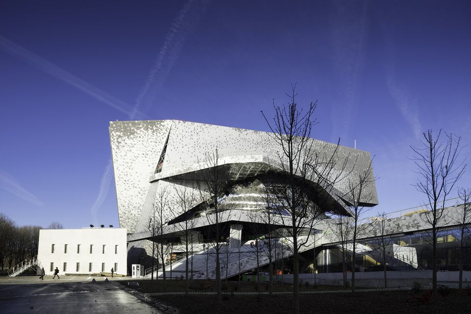 The facade of the new Philharmonie de Paris, designed by Jean Nouvel.