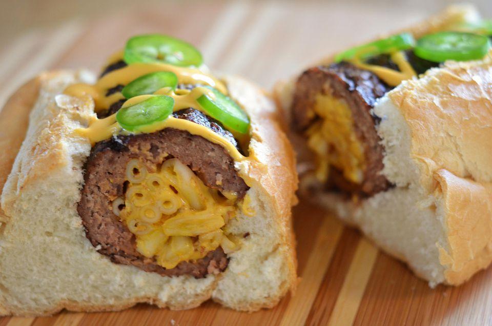 The Mac and Cheese Stuffed Burger Dog