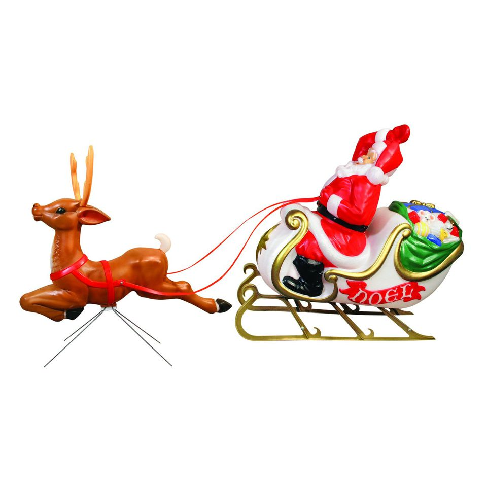 santa with sleigh blow mold