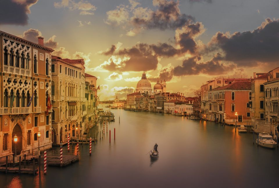 Gondola in the Grand Canal at sunset