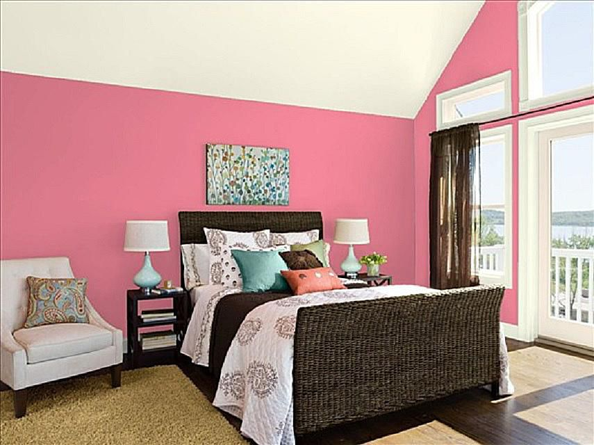 pink bedroom furniture. Pink Starburst from Benjamin Moore on bedroom walls  How to Decorate a Master Bedroom with
