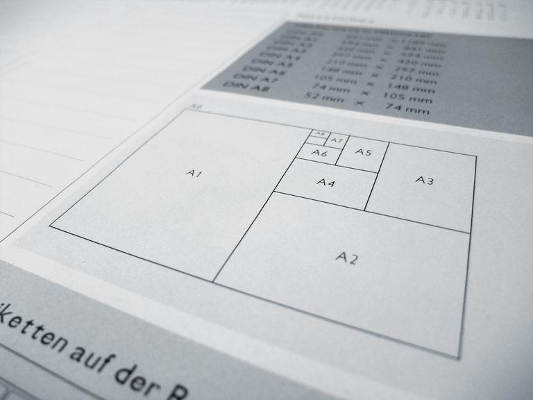 Hojas de papel en formato DIN A