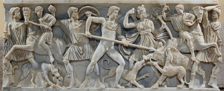 Sarcophagus Depicting the Calydonian Boar Hunt.