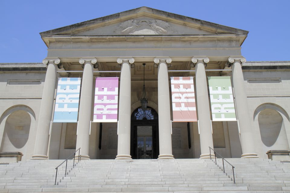 Maryland, Baltimore Museum of Art, banner saying free at the entrance