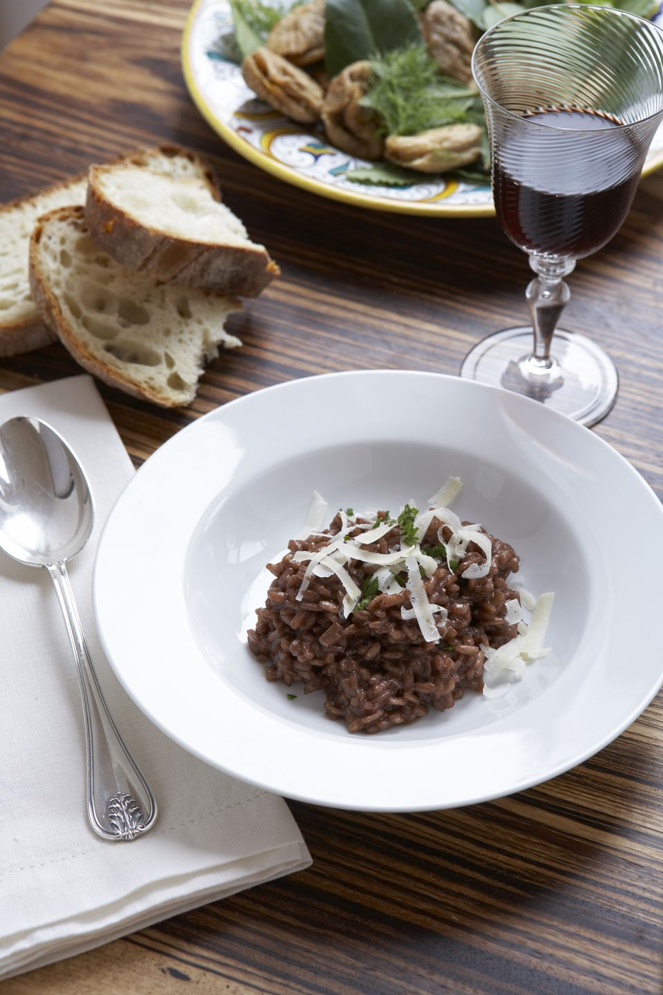 Risotto made with Amarone red wine