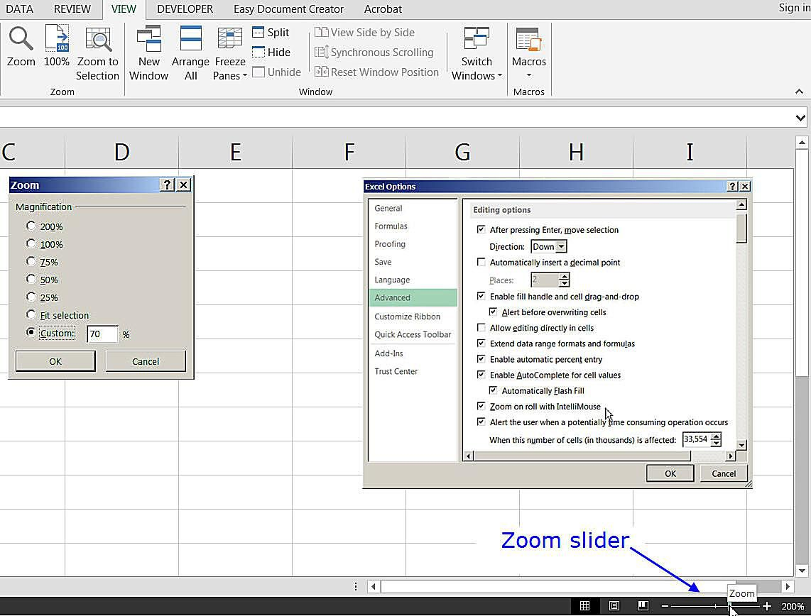 Add headers and footers to excel worksheets zoom options in excel zoom slider and zooming with the the keyboard ccuart Image collections