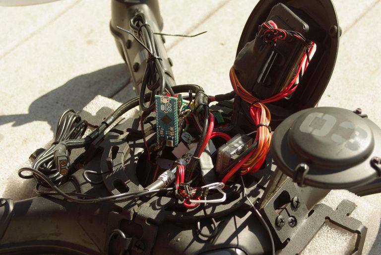 "Aerotestra ""Hugo"" floating quadcopter design by Sean Headrick, Arduino ph/temperature probe/datalogger by Ken McGary"