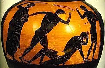 Panathenaic prize amphora. Pancratists, by the Berlin painter. 490 B.C. Staatliche Museen, Berlin.