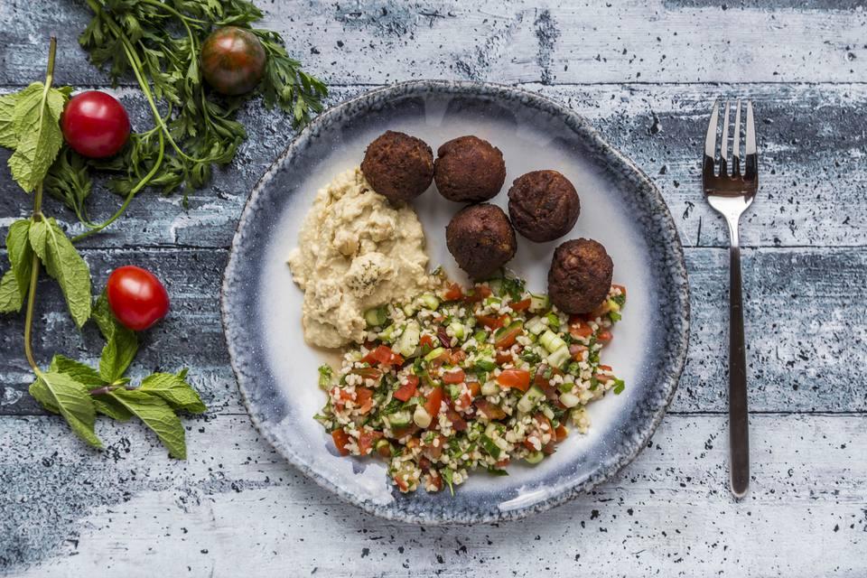 Bulgur wheat salad, Hummus and Falafel on plate