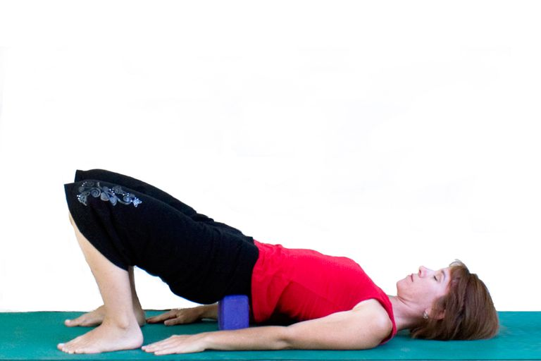 Supported Bridge Pose with a Block