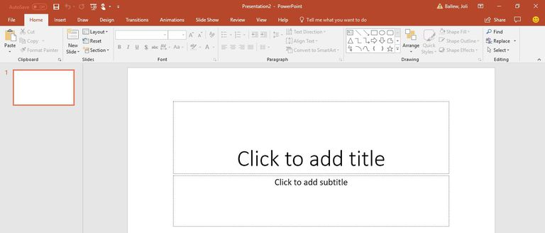 A picture of a blank PowerPoint presentation.