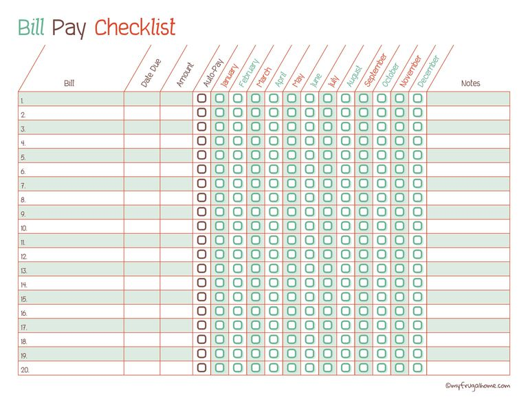 printable monthly bill payment checklists