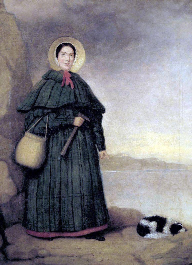Retrato de la paleontóloga Mary Anning con su perro Tray en 1842.