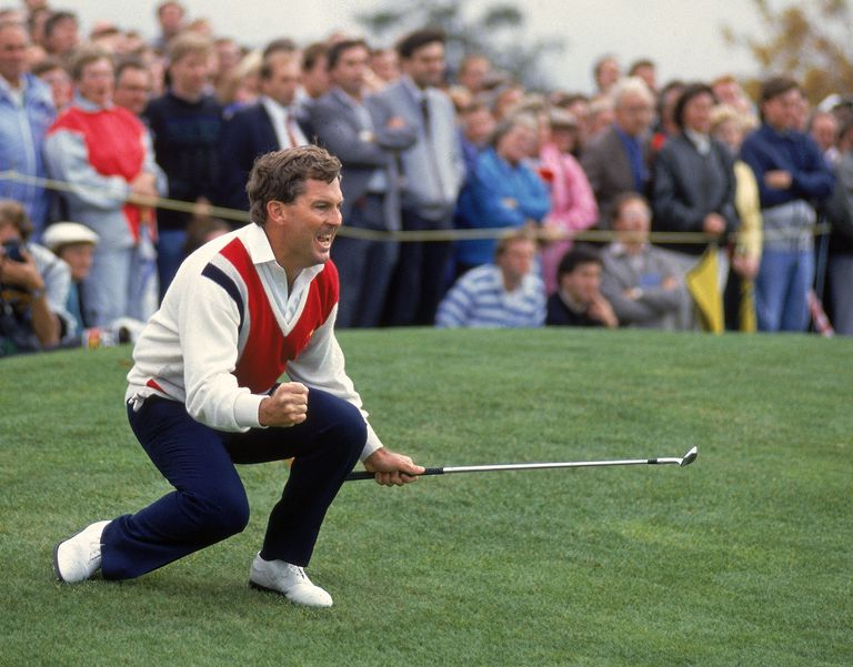 Lanny Wadkins of the USA watches his chip on the 17th during the 1989 Ryder Cup at The Belfry in Sutton Coldfield, England
