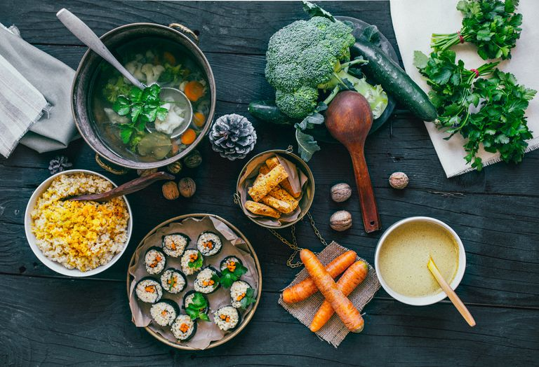 Vegetables, sushi and soup with rice