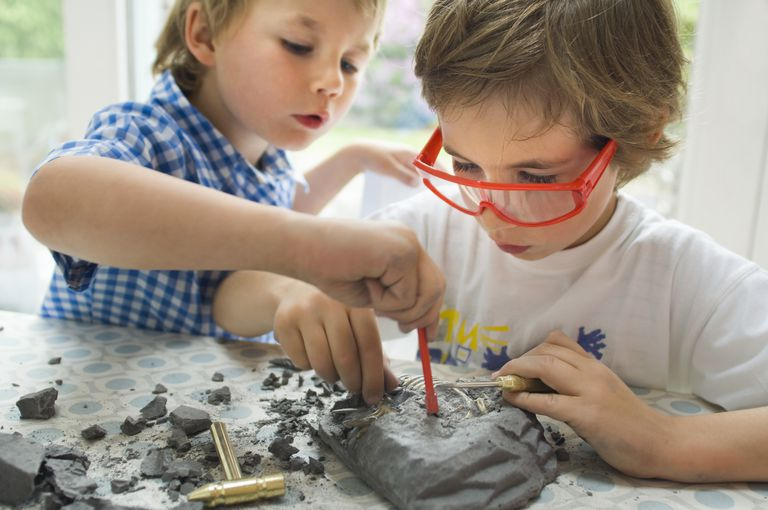 boys fossil dig - multiple intelligences, learning styles