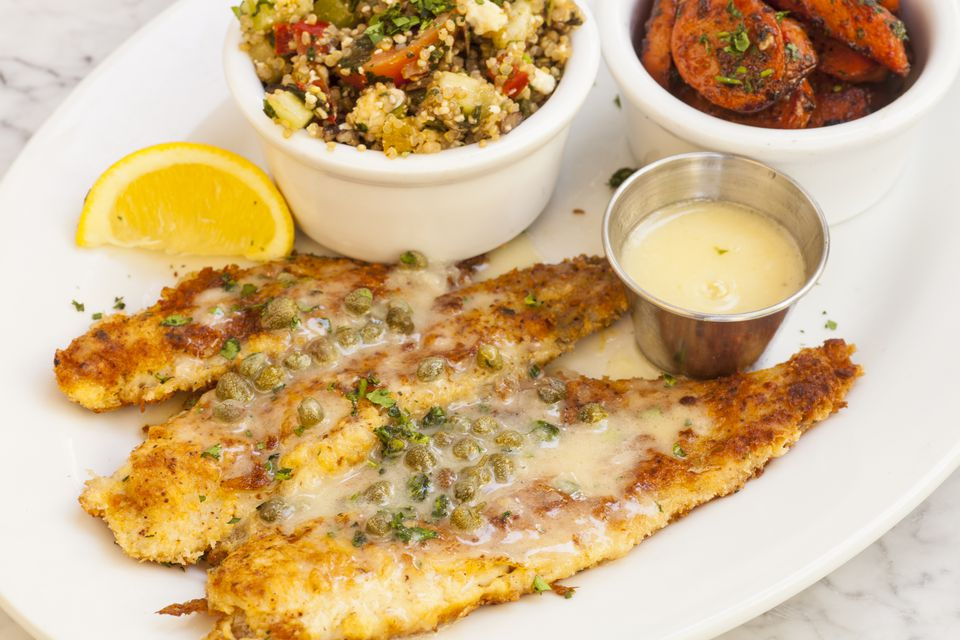 fried sand dabs with quinoa salad