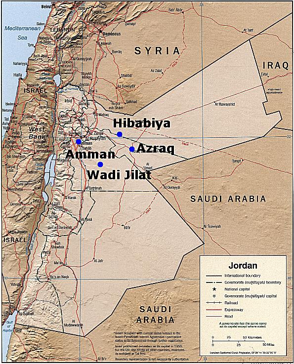 Location of Wadi Jilat in Jordan