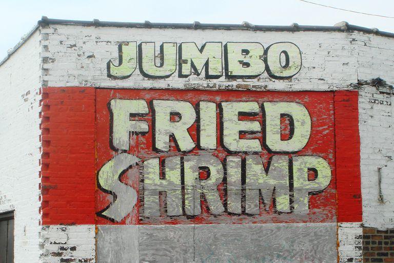 Jumbo Shrimp written on a wall
