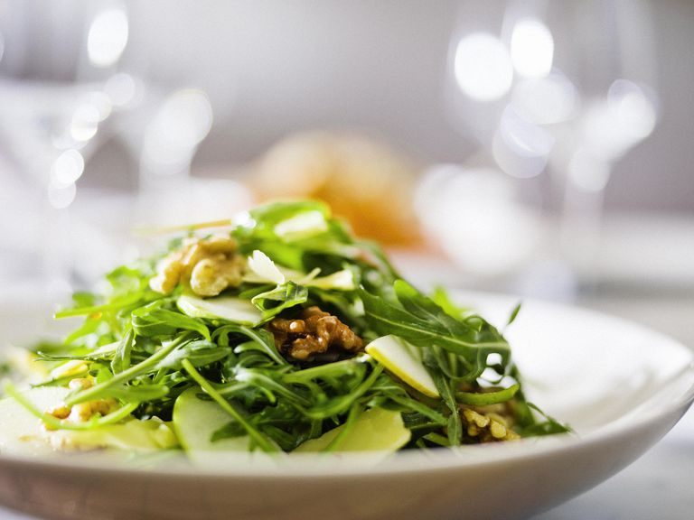 Rocket pear and walnut salad.