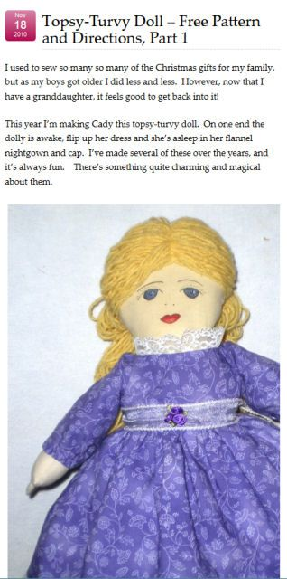 Topsy-Turvy Doll & Free Pattern and Directions, Part 1