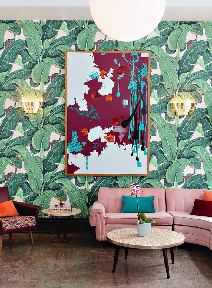 banana leaf wallpaper pink sofa