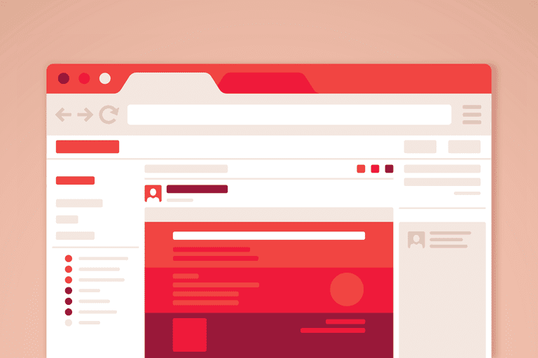 Illustration of a red and white web browser on a light brown background