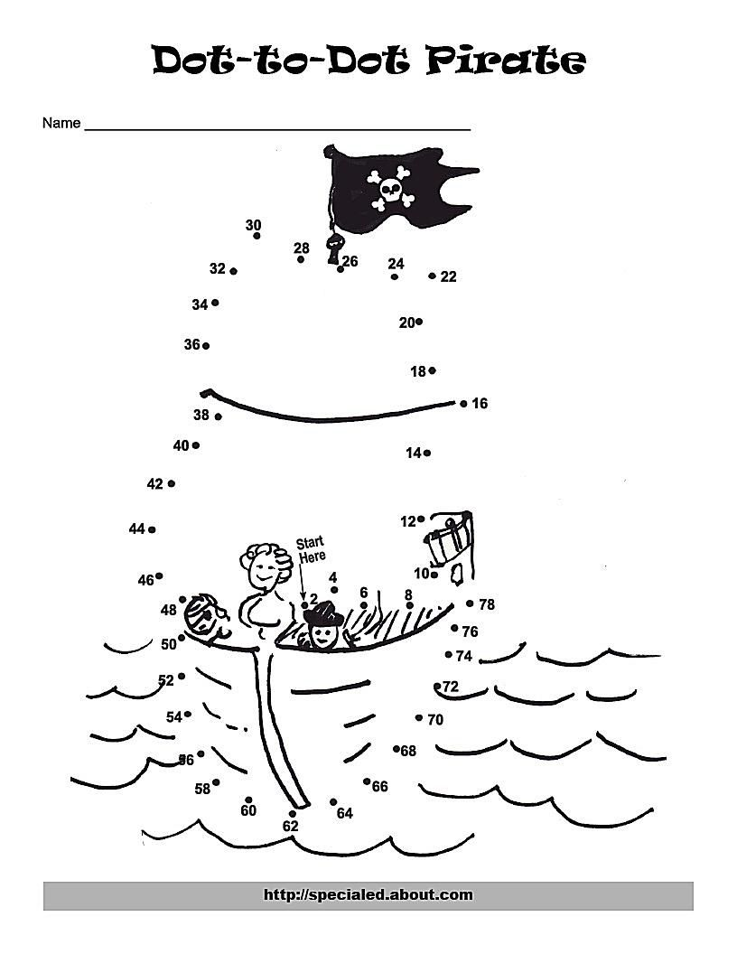 a pirate hat dot to dot to support skip counting