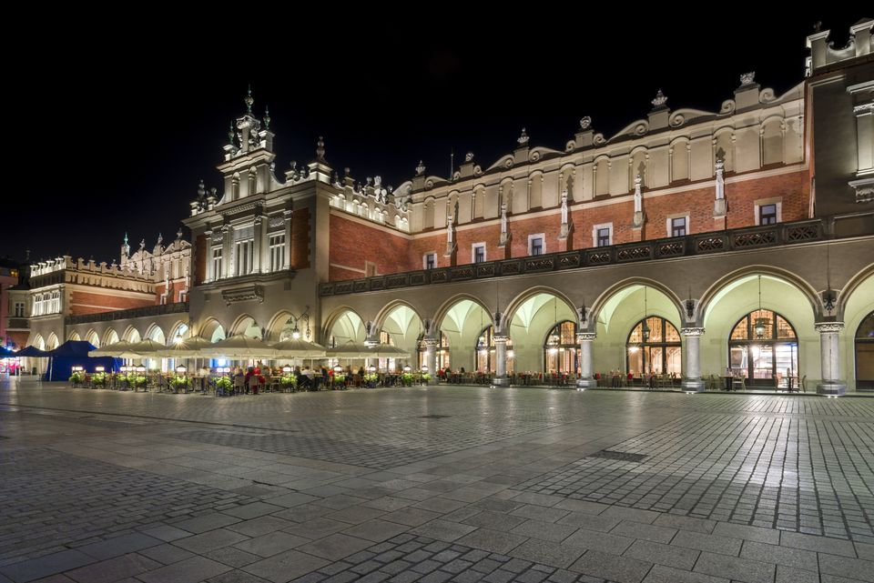 The Cloth Hall during the night in Krakow