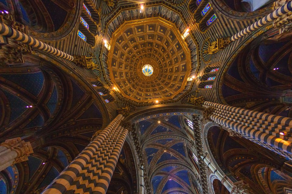 The dome of Cathedral of Siena from inside, low angle view