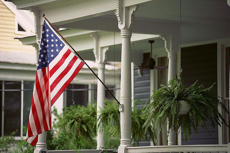 American flag displayed on a porch