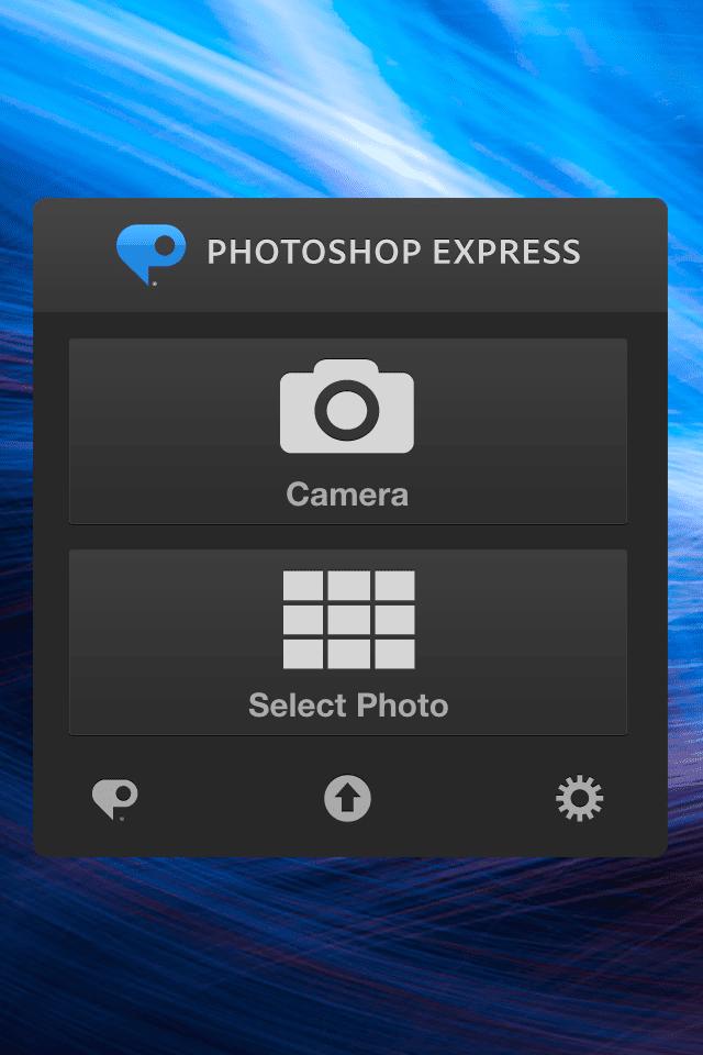 Adobe Photoshop Express opening screen