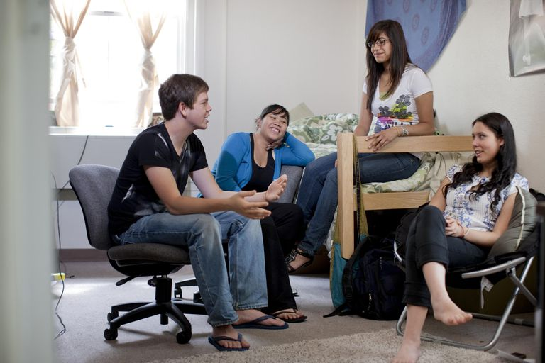 Friends hanging out in college bedroom with their RA