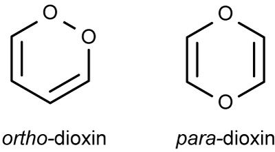 These are two structural isomers of dioxin. The atoms are the same, but they are ordered differently.
