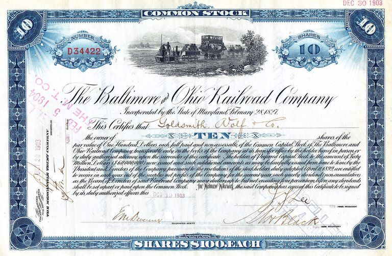 A stock certificate from 1903