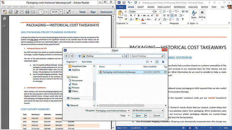 Word 2013 - PDF reflow