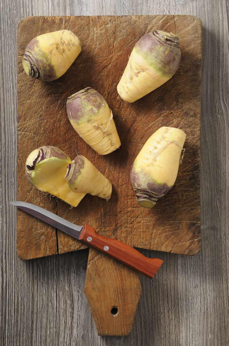 rutabaga on a cutting board