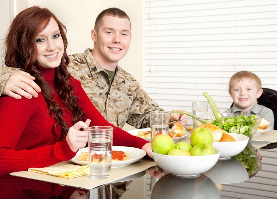Military Family Eating Dinner