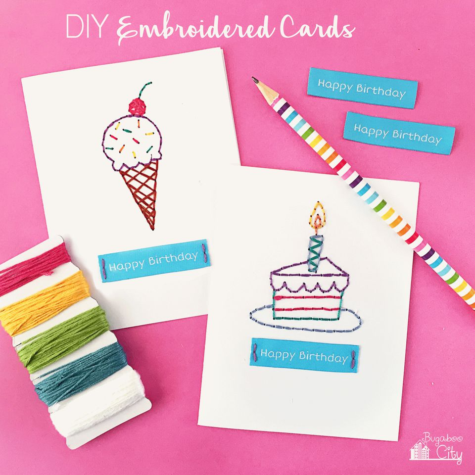 25 of the best diy birthday cards diy embroidered cards bookmarktalkfo Images