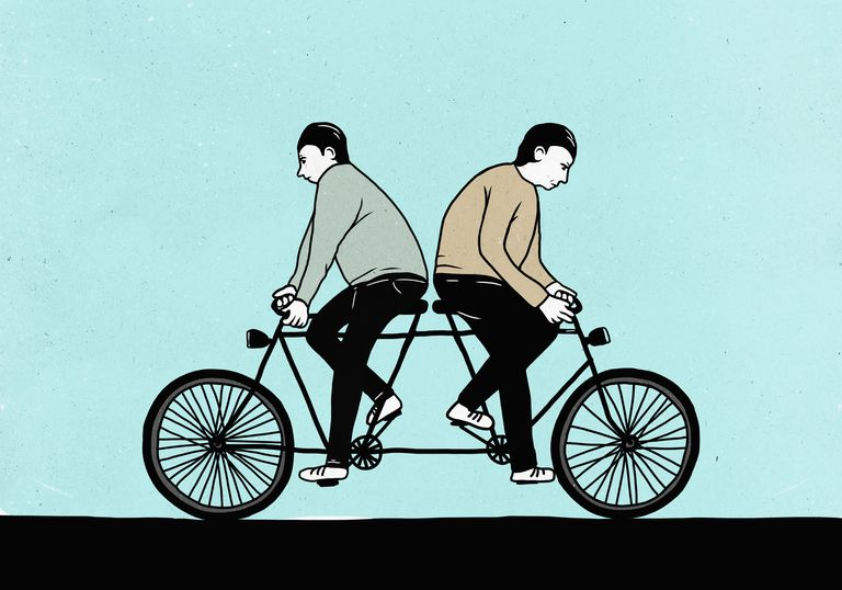 Illustration of male friends riding tandem bicycle in opposite directions