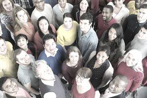 Portrait of diverse crowd