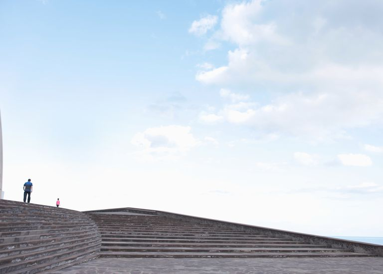 Monumental stairs against sky with two small figures