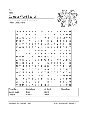 octopus word search vocabulary crossword and more. Black Bedroom Furniture Sets. Home Design Ideas