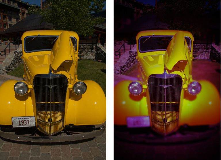 The image on the left is the original image of the yellow car. The one on the right is the finished product.