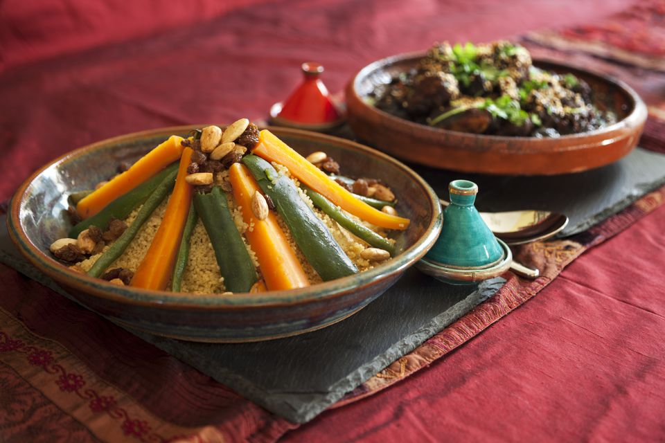 couscous with vegetables and Moroccan tagine