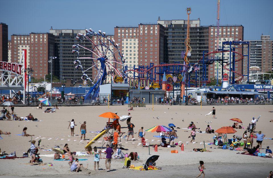 Coney Island beach and amusement park, NY