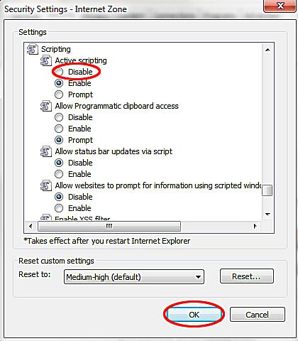 ie8 disable javascript